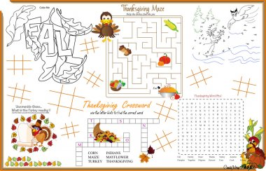 Placemat  Thanksgiving Printable Activity Sheet 6