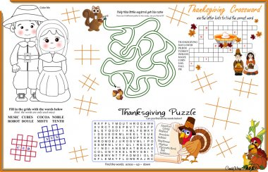 Placemat Thanksgiving Printable Activity Sheet 7