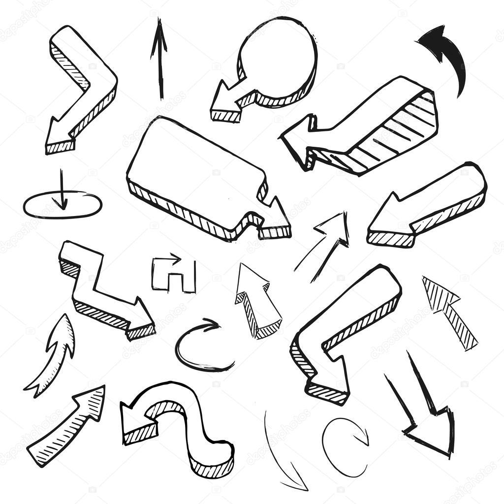 Dessin De Fleche collection de flèche dessin main — image vectorielle dimgroshev