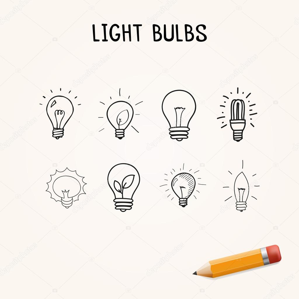 Set Of Hand Drawn Light Bulbs Symbol Of Ideas Stock: Stock Vector © Dimgroshev #81756496