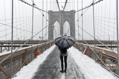 Brooklyn Bridge, Snowstorm - New York CIty