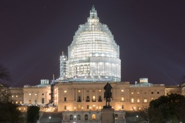 Capitol Building at Night Construction - Washington, D.C.