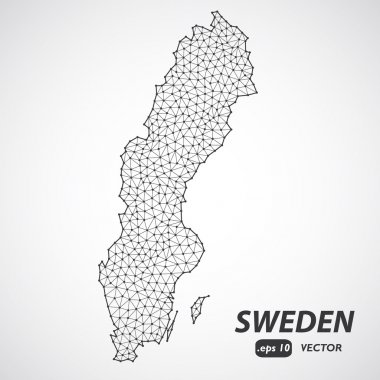 Low Poly map of Sweden. Dots and lines stylized in triangle illustration