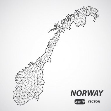 Low Poly map of Norway. Dots and lines stylized in triangle illustration
