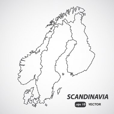 Scandinavia borders map, scandinavia map vector, Denmark, Norway, Sweden and Finland