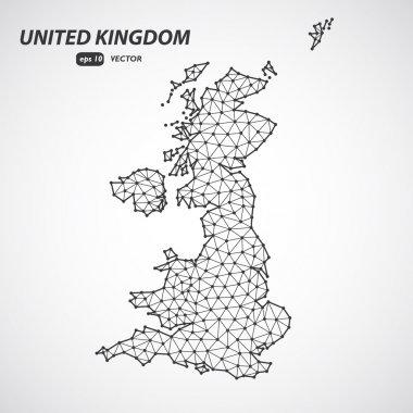 Polygonal United Kingdom of Great Britain maps. Map of country in low poly style. Country map in geometric style for your infographics