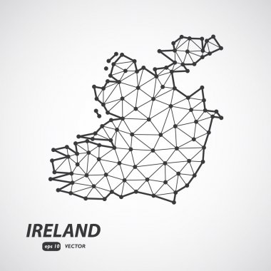 Polygonal Ireland maps. Map of country in low poly style. Country map in geometric style for your infographics