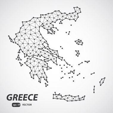 Detailed Greece map vector. Low poly style vector. Connection concept.