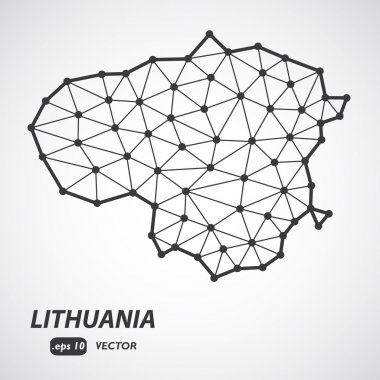 Vector polygonal Lithuania map. Gray map of country in low poly style. EPS Illustration in geometric style for your infographics