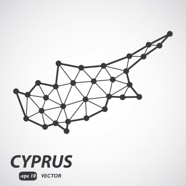 Vector polygonal Cyprus map. Gray map of country in low poly style. EPS Illustration in geometric style for your infographics