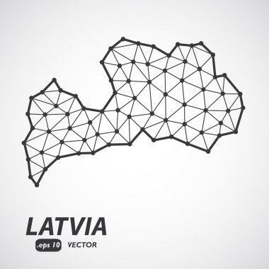 Vector polygonal Latvia map. Gray map of country in low poly style. EPS Illustration in geometric style for your infographics