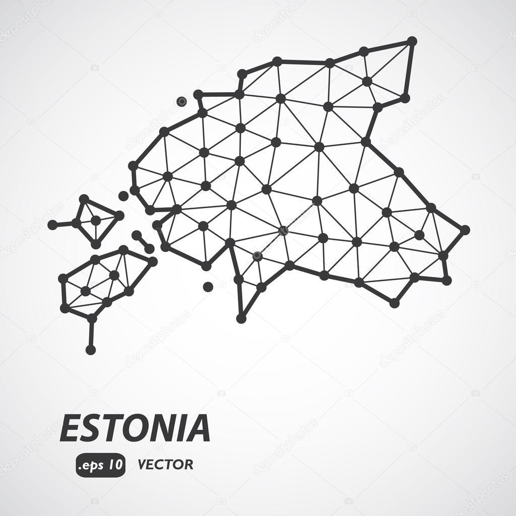 Vector Polygonal Estonia Map Gray Map Of Country In Low Poly - Estonia map download