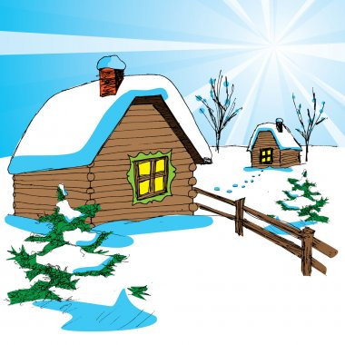 Vector of winter landscape with cottage and christmas tree. Happy New Year!