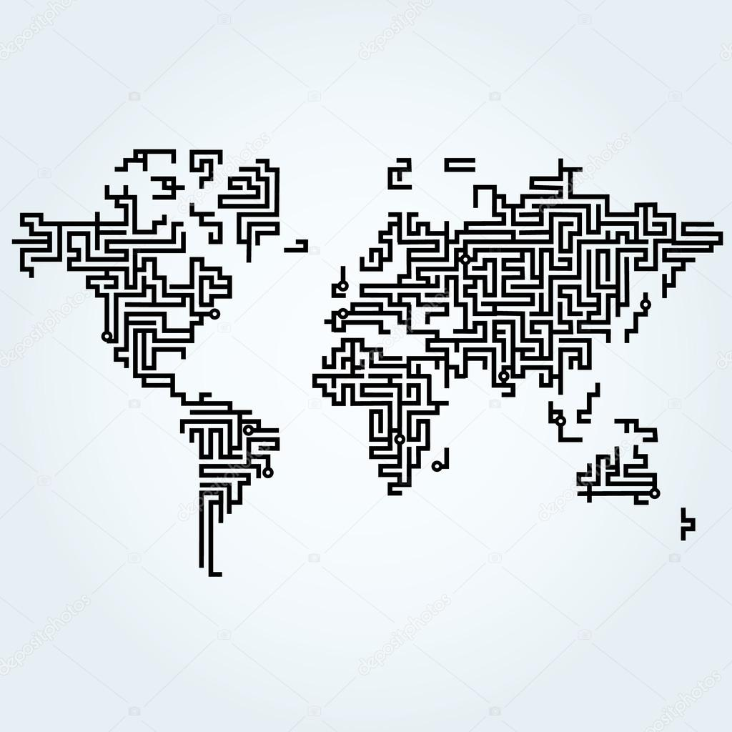 world map connected with circuit board lines  u2014 stock vector  u00a9 michal bellan  60323975