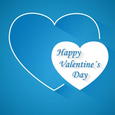 Valentine's day blue vector background with two hearts with shadow