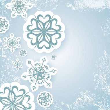Blue abstract christmas background vector with snowflake and white snow grunge
