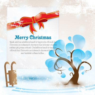 Greeting card with tree and Merry Christmas lettering for your text. Vector illustration with snow grunge