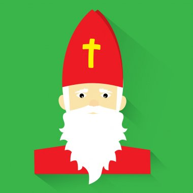 Saint Nicholas on green background, flat design, vector illustration