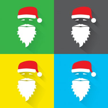 Flat Design Vector set of Santa Claus Face on green, black, yellow and blue background. Icon. Greeting Card.