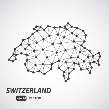 Low poly vector map of Switzerland