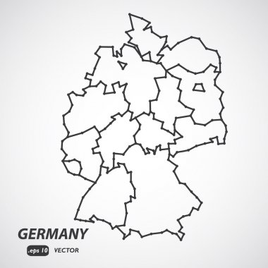 Simple Low Poly Map of Germany with borders and and federal bundes states. Vector version