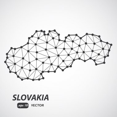 Low Poly Slovakia Map with border - stylized infographic molecular concept - Vector Illustration