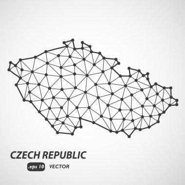 Low Poly Czech Republic Map with border - stylized infographic molecular concept - Vector Illustration