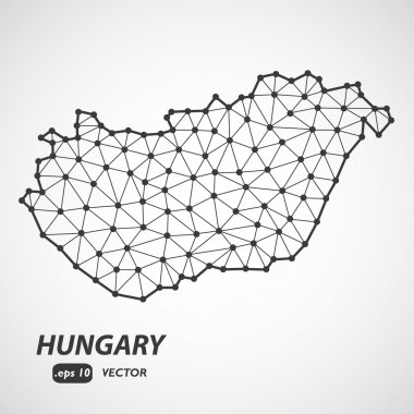 Low poly Hungary map illustration with border. Point and geometrical form, structure line comunication concept