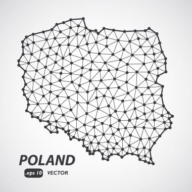 Low poly Poland map illustration with border. Point and geometrical form, structure line comunication concept