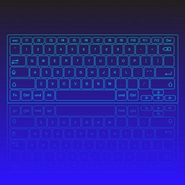 Touch screen virtual modern keyboard, glowing keys and reflection on blue background