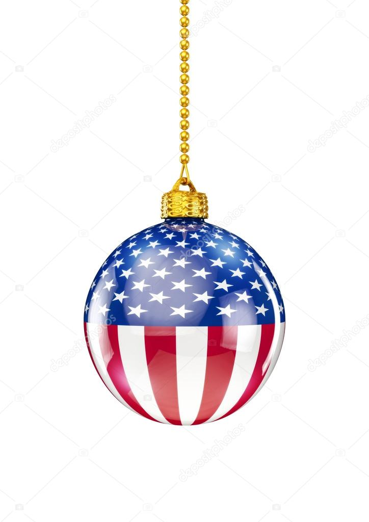 United States Christmas Ornaments Part - 29: 3D Render Of Christmas Ornament With American Flag U2014 Photo By Grandeduc