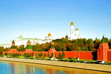 Watercolor depicting of the Moscow Kremlin