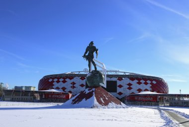 Football stadium Spartak Opening arena and a monument to the gladiator Spartacus