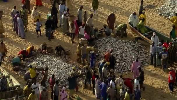 Kissmu Kenya, January 2019: Aerial view, Fishermen selling fish to other people at lake Victoria.