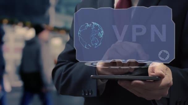 Geschäftsmann verwendet Hologramm-VPN