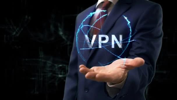 Geschäftsmann zeigt Konzept Hologramm VPN
