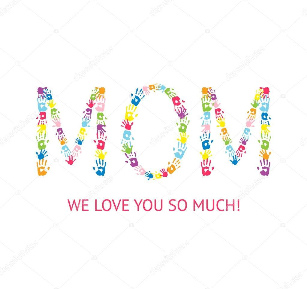 Word mom made of children handprints stock vector greeting card design for mothers day word mom made of children handprints vector by portarefortuna kristyandbryce Images