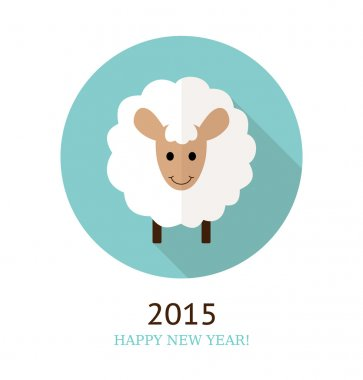 Vector illustration of sheep, symbol of 2015.