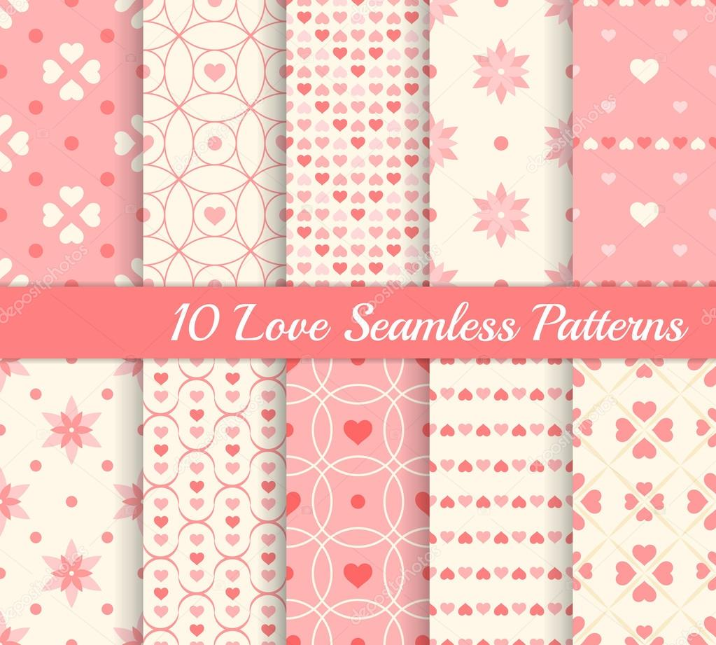 10 different seamless patterns. Love collection