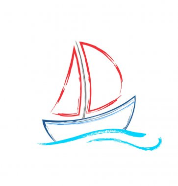 Abstract watercolor sailing ship on white background.