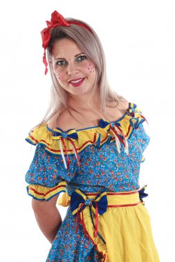 Brazilian woman wearing typical clothes for the Festa Junina stock vector