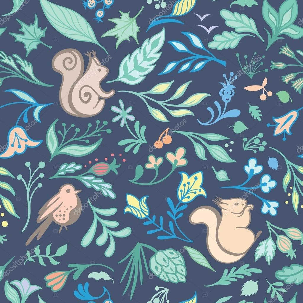 Summer Vector Forest Pattern