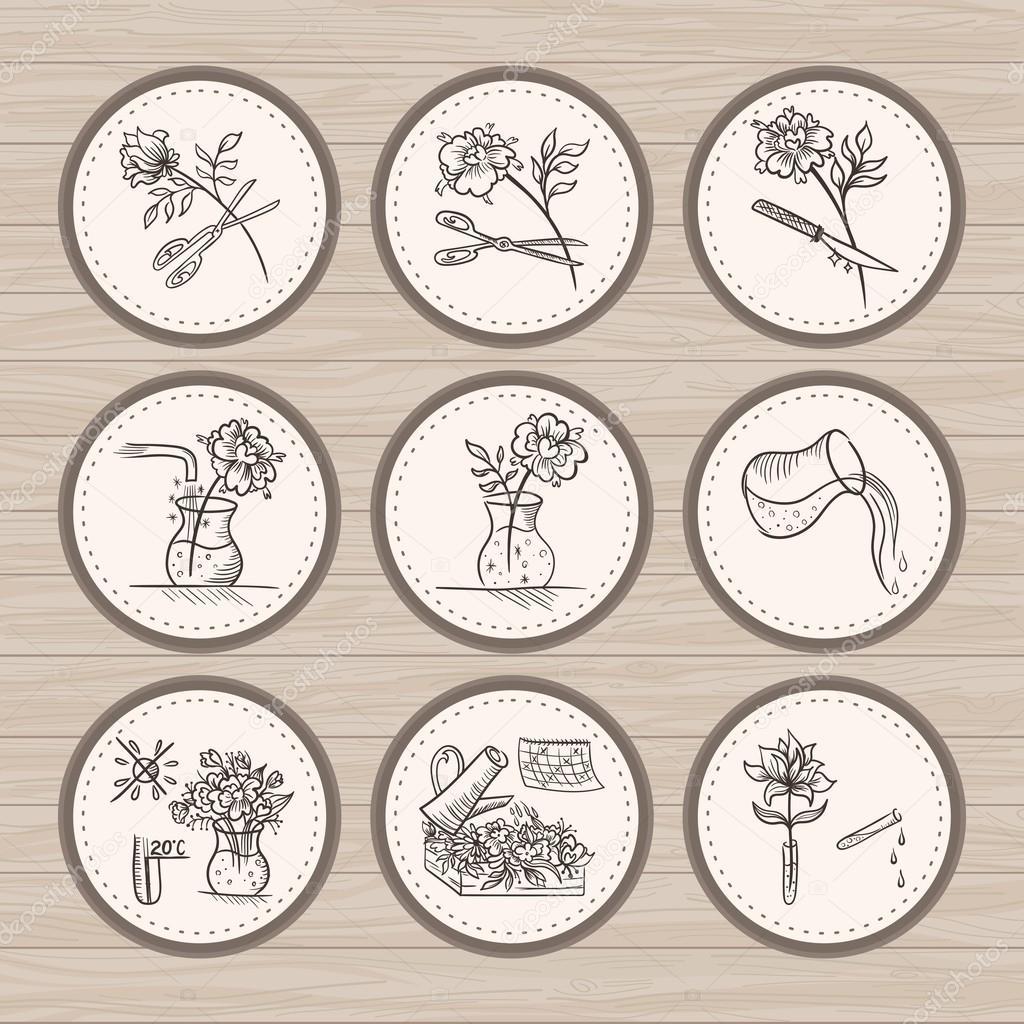Vintage Floristic Vector Icons