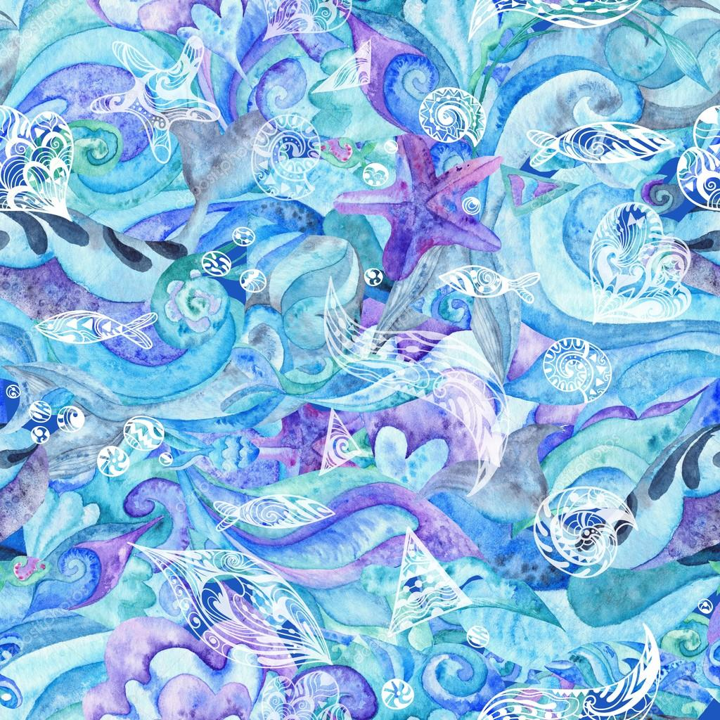 Blue Watercolor Abstract Marine Pattern