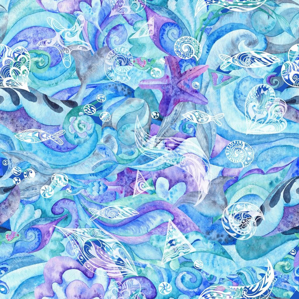 motif marin abstrait aquarelle en bleu photographie kisika1 109550122. Black Bedroom Furniture Sets. Home Design Ideas