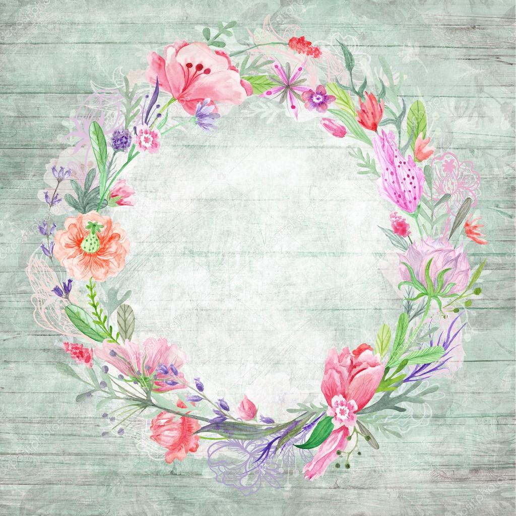 Shabby Chic Background With Floral Wreath Stock Photo