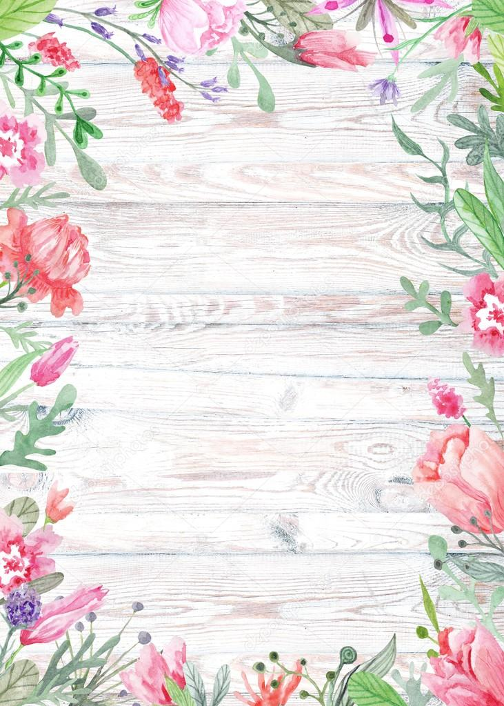Watercolor Floral Frame on Wood Background