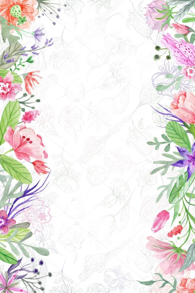 Summer Background With Floral Borders