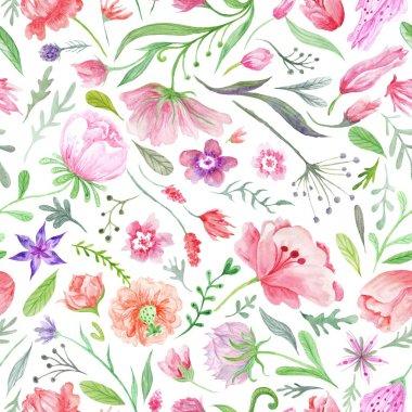 "Картина, постер, плакат, фотообои ""Bright Vintage Watercolor Summer Pattern"", артикул 111767476"