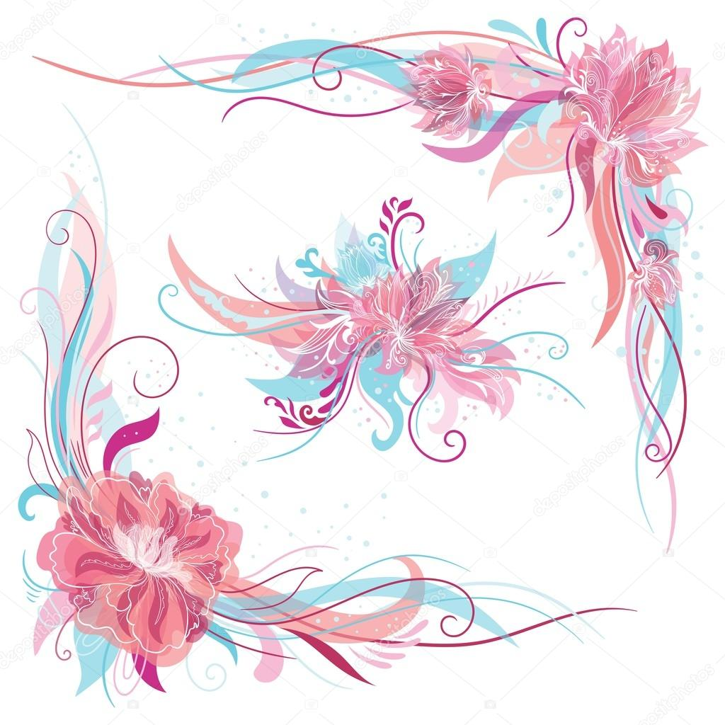 Creative Romantic Vector Floral Ornaments